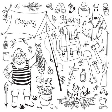 Fishing, hunting, camping set. Hand drawing design elements.  Vector illustration.