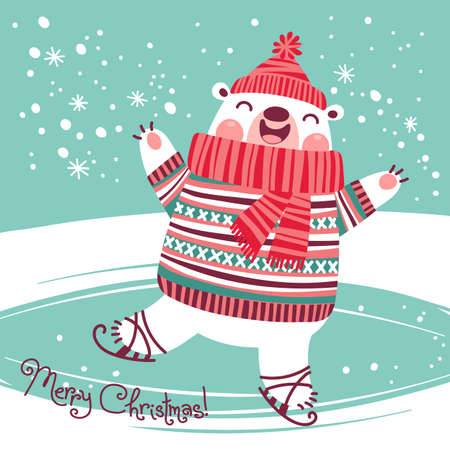 Christmas card with cute polar bear on an ice rink. Vector illustration. Vettoriali