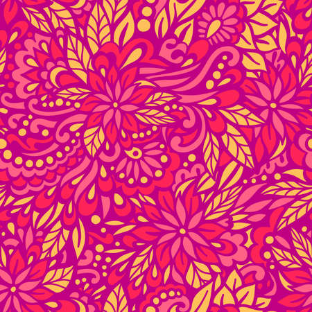 Flowering Garden. Seamless decorative pattern. Vector illustration.