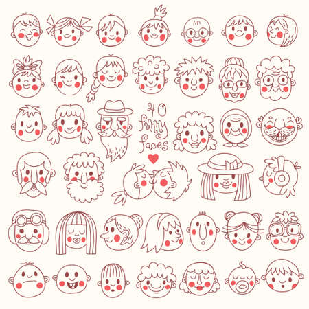 40 Funny Faces. People of all ages. Cute vector set.