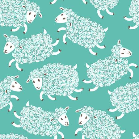 ovejitas: Modelo inconsútil con las ovejas lindo. Ilustración del vector. Vectores