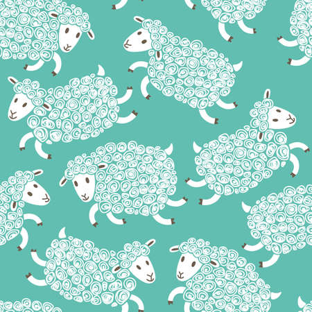 baby: Seamless pattern with cute sheep. Vector illustration. Illustration