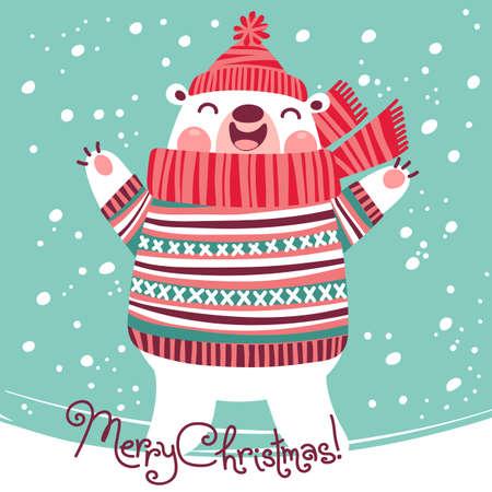 Christmas card with cute polar bear. Vector illustration.