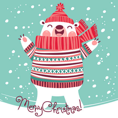 teddy bear christmas: Christmas card with cute polar bear. Vector illustration.