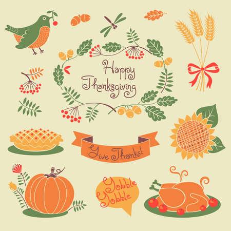 thanksgiving family: Happy Thanksgiving set of elements for design. Vector illustration.