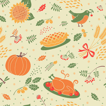 gobble: Seamless pattern autumn season. Beautiful background for Thanksgiving. Vector illustration. Illustration