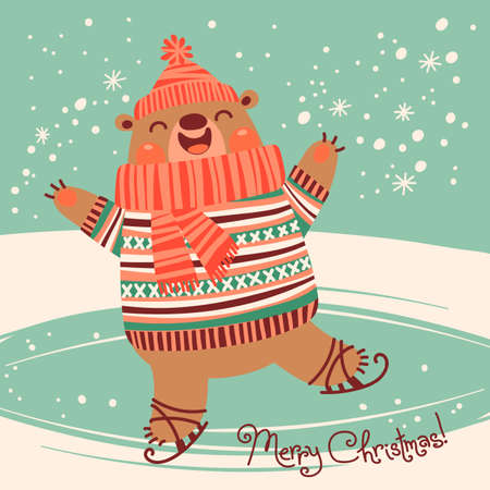 rink: Christmas card with a pretty brown bear on an ice rink. Vector illustration. Illustration