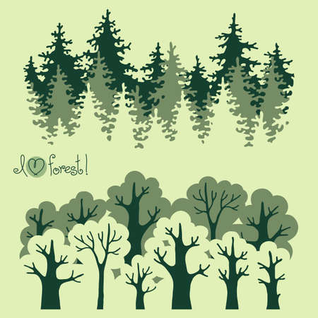 Abstract banners of green deciduous  forest and coniferous forest. Vector illustration. Stock Illustratie