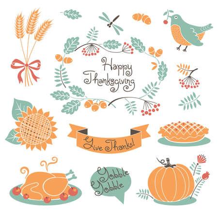 thanksgiving day symbol: Felice Ringraziamento insieme di elementi di design. Illustrazione vettoriale.