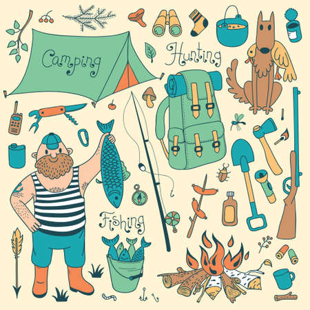 Fishing, hunting, camping set. Hand drawing design elements.  Vector illustration. Vector