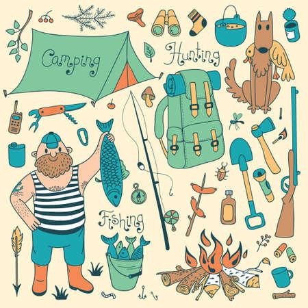 gun silhouette: Fishing, hunting, camping set. Hand drawing design elements.  Vector illustration.