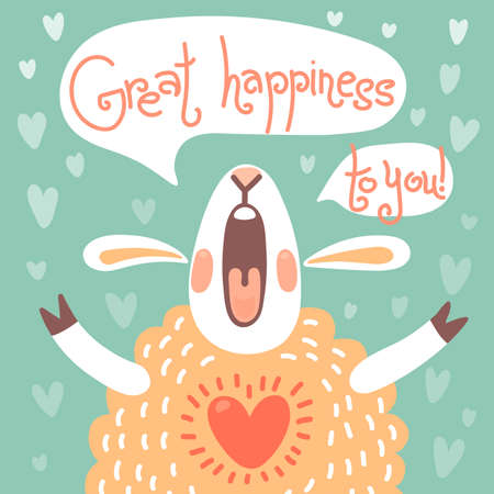happy birthday text: Card to the birthday or other holiday with cute sheep and wish great happiness.  Illustration