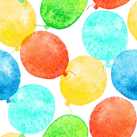 Seamless pattern with colorful watercolor balloons. Vector illustration. Vector