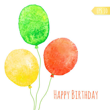 green balloons: Card with colored watercolor paint balloons. Vector isolated illustration. Illustration