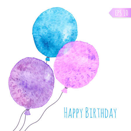 Card with colored watercolor paint balloons. Vector isolated illustration. Vector