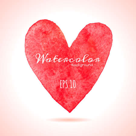 Watercolor painted red heart.  Vector