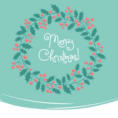 Xmas card. Vintage card with Christmas wreath. Vector
