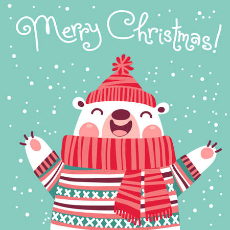 Christmas card with cute polar bear. Vector