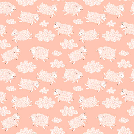 Seamless pattern with cute sheep and clouds.  Vector