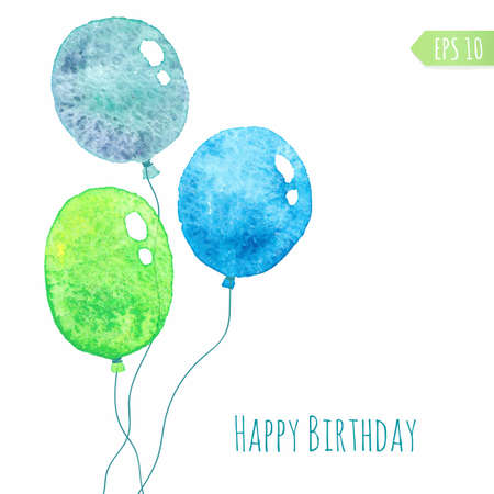 green balloons: Card with colored watercolor paint balloons.