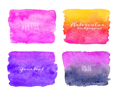 Wet Watercolor Ombre Backgrounds. Hand Painted.  Vector
