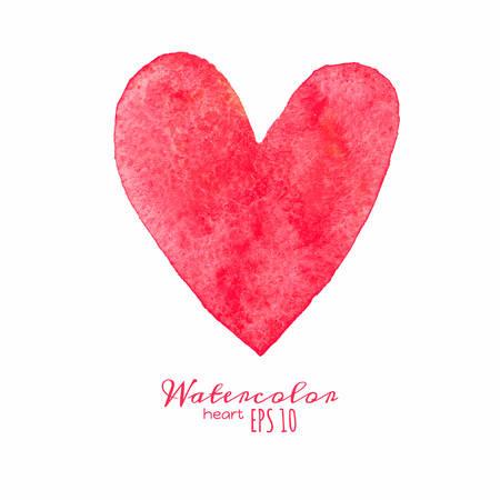 cuore: Acquerello dipinto cuore rosso.