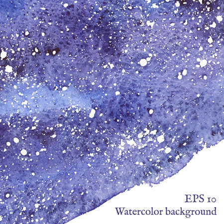 white textured paper: Blue space background. Blue watercolor banner template. Painting.