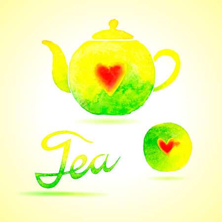 chinese tea pot: Tea set. Design elements painted in watercolor.