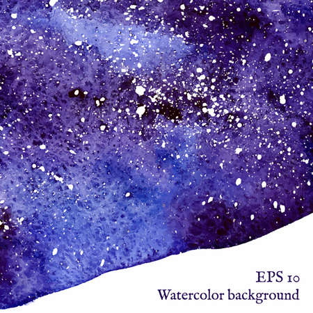 Blue space background. Blue watercolor banner template. Painting.  Vector