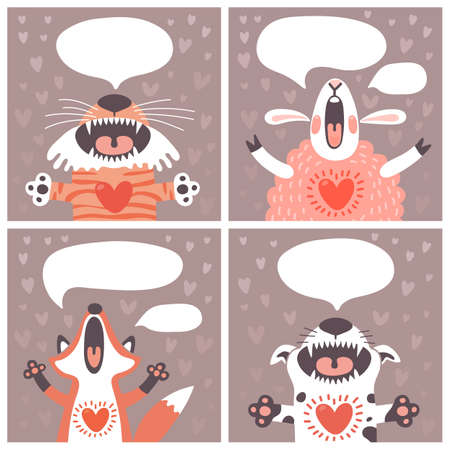 Set of cards with funny animals.  Vector