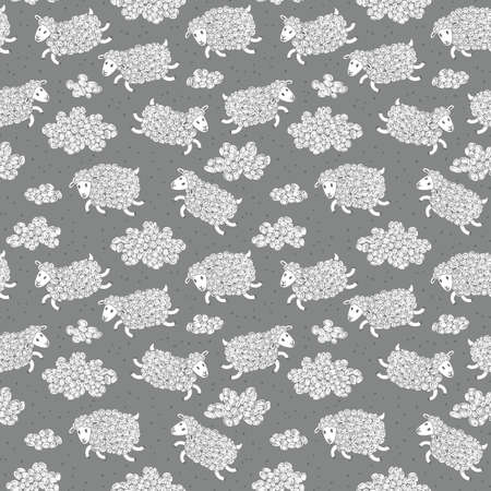 lamb cartoon: Seamless pattern with cute sheep and clouds. Vector illustration.