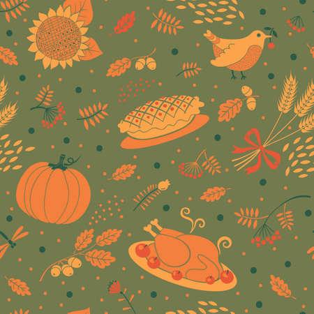 秋のシーズンのシームレスなパターン。感謝祭のための美しい背景。ベクトル イラスト。  イラスト・ベクター素材