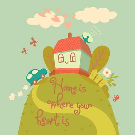 Thuis is waar je hart is. Kaart met leuke huis en auto. Vector illustratie. Vector Illustratie