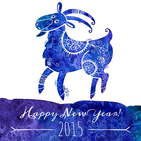 Watercolor pattern goat. Chinese astrological sign. New Year 2015. Vector illustration Vector