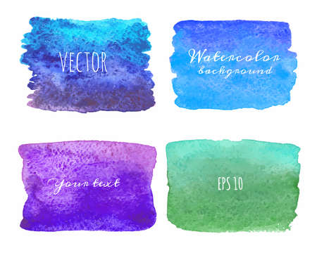 Wet Watercolor Ombre Backgrounds. Hand Painted. Vector isolated illustration. Vector