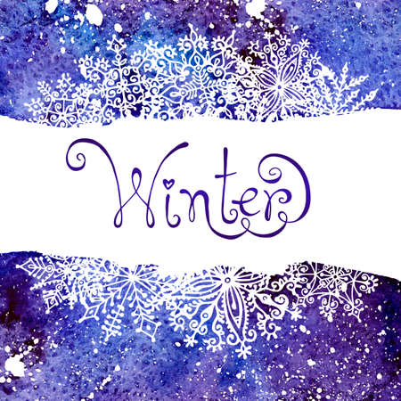 Winter background with snowflakes. Painting. Watercolor splash. Vector illustration.  Vector