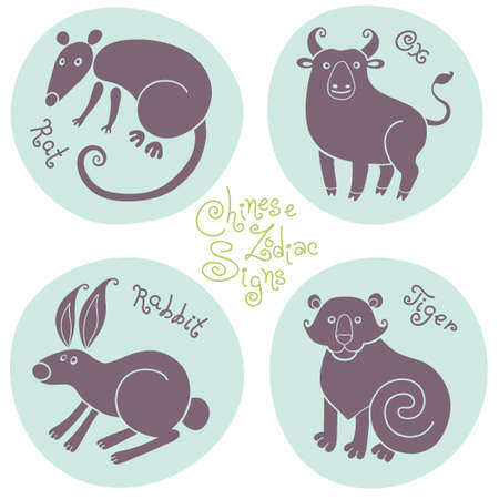 Set signs of the Chinese zodiac Rat, Ox, Rabbit, Tiger.  Vector