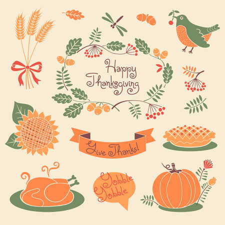 thanksgiving day symbol: Felice insieme Ringraziamento di elementi di design. Illustrazione vettoriale.