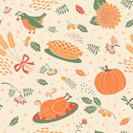 thanksgiving turkey birds: Seamless pattern autumn season. Beautiful background for Thanksgiving. Vector illustration. Illustration