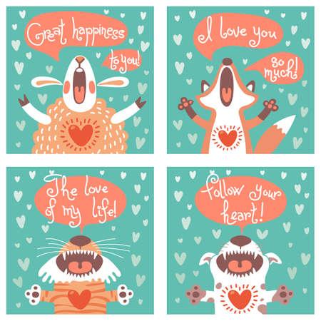 ovejita bebe: Conjunto de tarjetas con animales divertidos. Ilustraci�n del vector.
