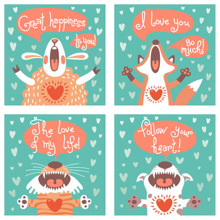 happy birthday cartoon: Set of cards with funny animals. Vector illustration.