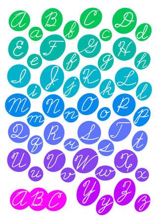 cursive: ABC. Bright alphabet. Cursive letters. Vector illustration