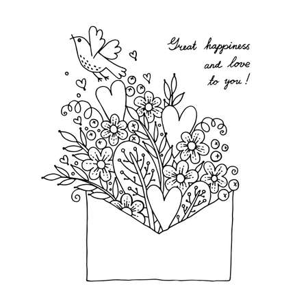 cartoon envelope: Illustration with hearts, bird and flowers. Vector illustration.