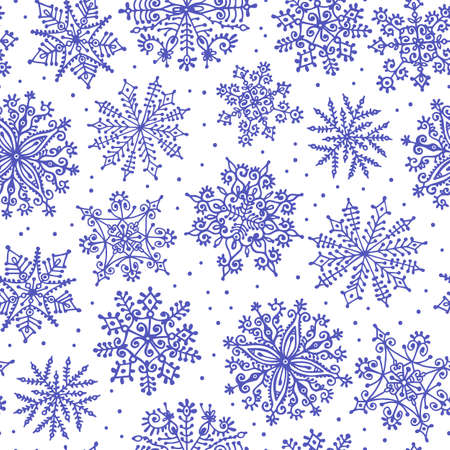 Hand drawn snowflakes. Seamless pattern. Vector illustration. Vector