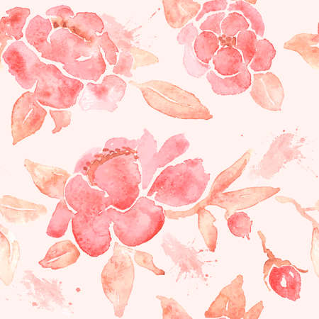 Seamless wallpaper with Peony flowers. Watercolor painting in vector.