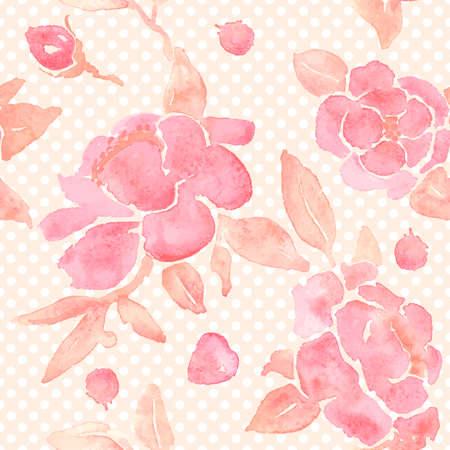 Papel pintado inconsútil con las flores de peonía. Pintura de la acuarela en el vector. Foto de archivo - 32429693