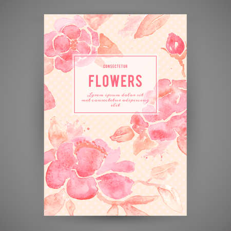 Background with Peony flowers. Watercolor painting in vector. Vettoriali