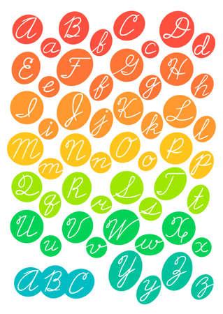Hand drawn bright alphabet. Cursive letters. Vector illustration.