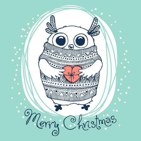 手描きかわいいワシフクロウとベクトル図。陽気なクリスマス カード。