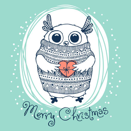 Hand drawn vector illustration with cute eagle owl. Merry Christmas card.